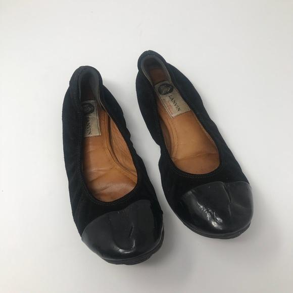 58a2d4c42f1f6 Lanvin Shoes   Black Suede Ballet Flats Size 7 Patent   Poshmark